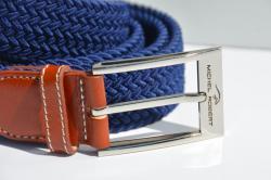 Braided elastic leather belt - Blue