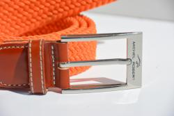 Braided elastic leather belt - Orange