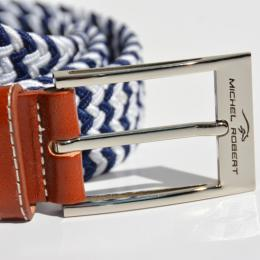 Braided elastic leather belt - White and navy