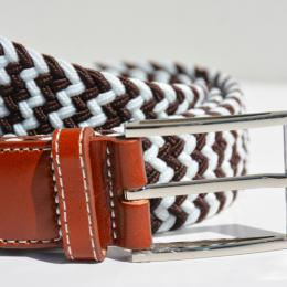 Braided elastic leather belt - White and chocolat