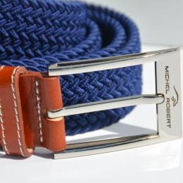 Braided elastic leather belt - Blue