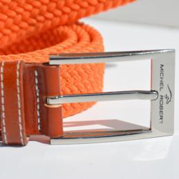 Braided elastic leather belt - Orange