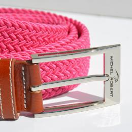 Braided elastic leather belt - Pink