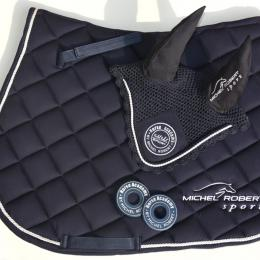 Michel Robert Sport's Saddle pad and Ear Net- color navy blue